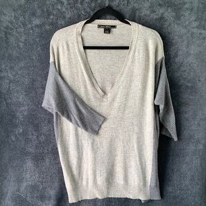 Love Stitch Oversized Sweater V Neck Grey